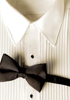 White laydown-collar pleated shirt