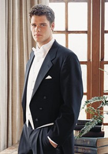 Black tuxedo tailcoat