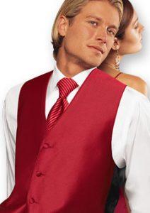 red tuxedo vest